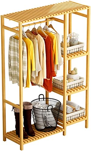 COAT RACK ZHIRONG Multifunction Bamboo Combination, Bedroom Simple Wardrobe, Hangers, 3 Layers Storage Shelf, Shoe Rack,