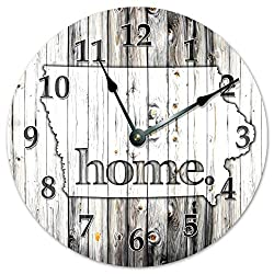 IOWA STATE HOME CLOCK Huge 15.5 to 16 Wall Clock Black and White Rustic Clock