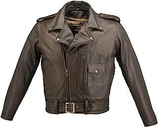 product image for Men's D Pocket Distress Brown Biker Jacket (56)