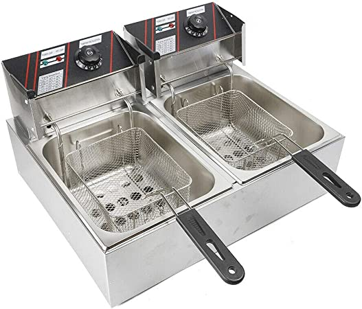 Freidora eléctrica doble de acero inoxidable, 12 L (6 L + 6 L) + 2 cestas para freír: Amazon.es: Hogar