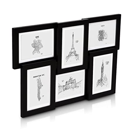 Classic by Casa Chic Solid Wood Black Collage Frame Holds Six 7x5 ...