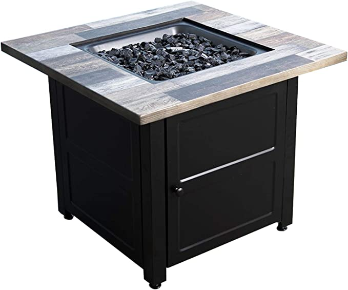 Endless Summer Harper Lp Gas Outdoor Fire Pit Table With Fire Glass And Cover Gad15299es Garden Outdoor Amazon Com