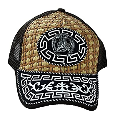 Amazon.com : Cowboy Gorras Charros Straw Trucker Mesh Snap back Curved Brim - Brown/Khaki : Everything Else