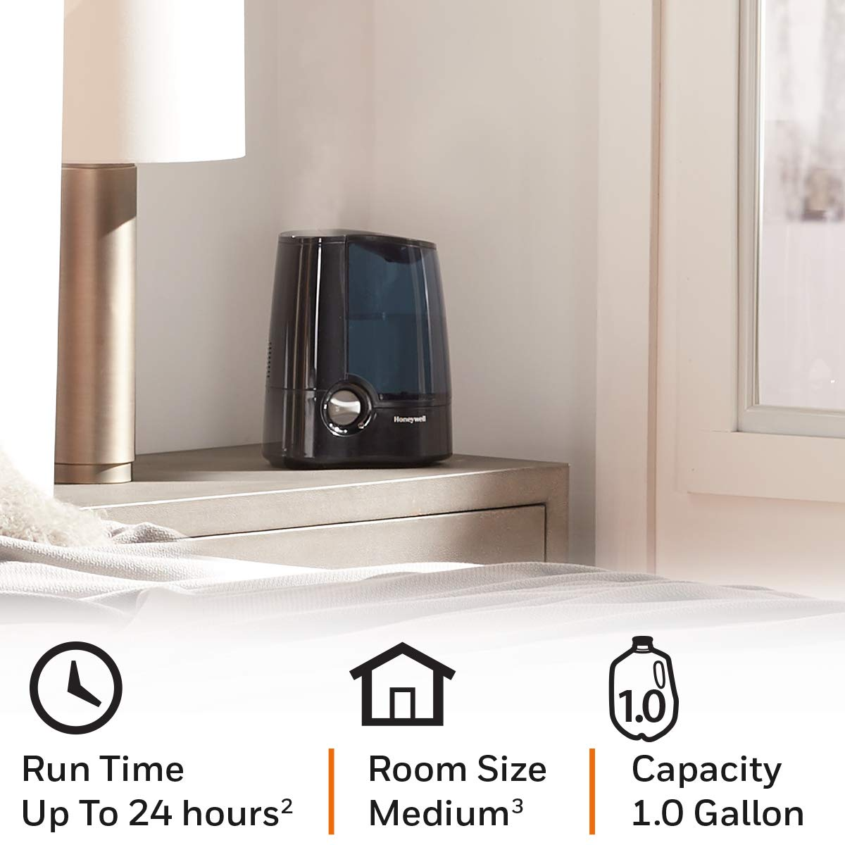 Honeywell HWM705B Filter Free Warm Moisture Humidifier Black Ultra Quiet Filter Free with High & Low Settings, 1 Gallon Tank for Office, Bedroom, Baby