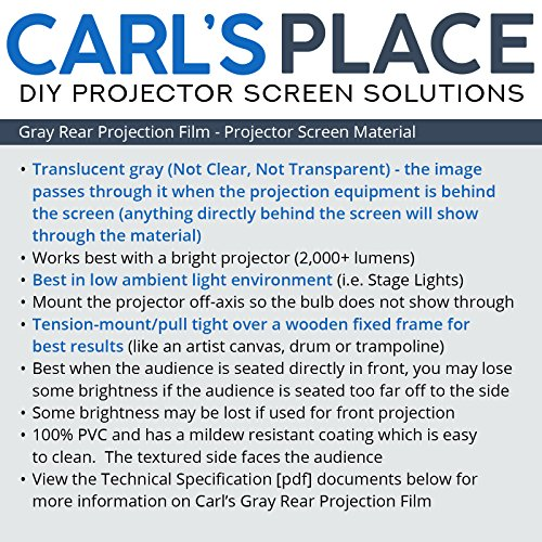 Carls Gray Rear Projection Film (16:9 | 105x187 | 214-in | Folded) Grey Rear Projection Material, Rear Projection Screen Material, Rear Projection Projector Screen, Translucent Projection Fabric by Carls Place (Image #4)