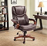 Serta Big and Tall Executive Office Chair with Upgraded Wood Accents, Win-Win Biscuit Bonded Leather