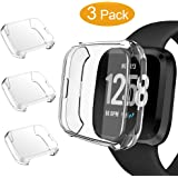 GHIJKL 3 Packs Screen Protector Compatible Fitbit Versa Lite Edition, Ultra Slim Soft Full Cover Case for Fitbit Versa Lite Edition (Versa Lite: Clear, Clear, Clear)
