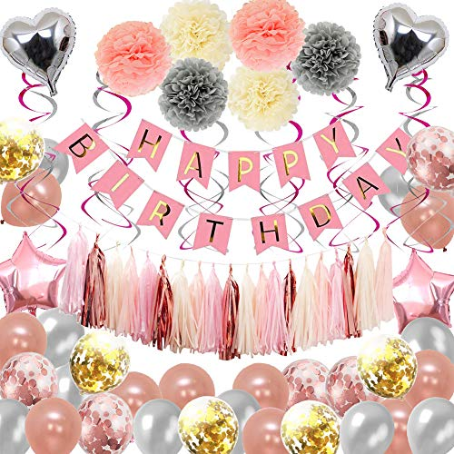 Happy 80th Birthday Balloons (Birthday Decorations,Happy Birthday Party Supplies Rose Gold,87pcs for 16th 18th 21st 30th 50th 60th 70th Birthday Balloons Party Decoration for Women)
