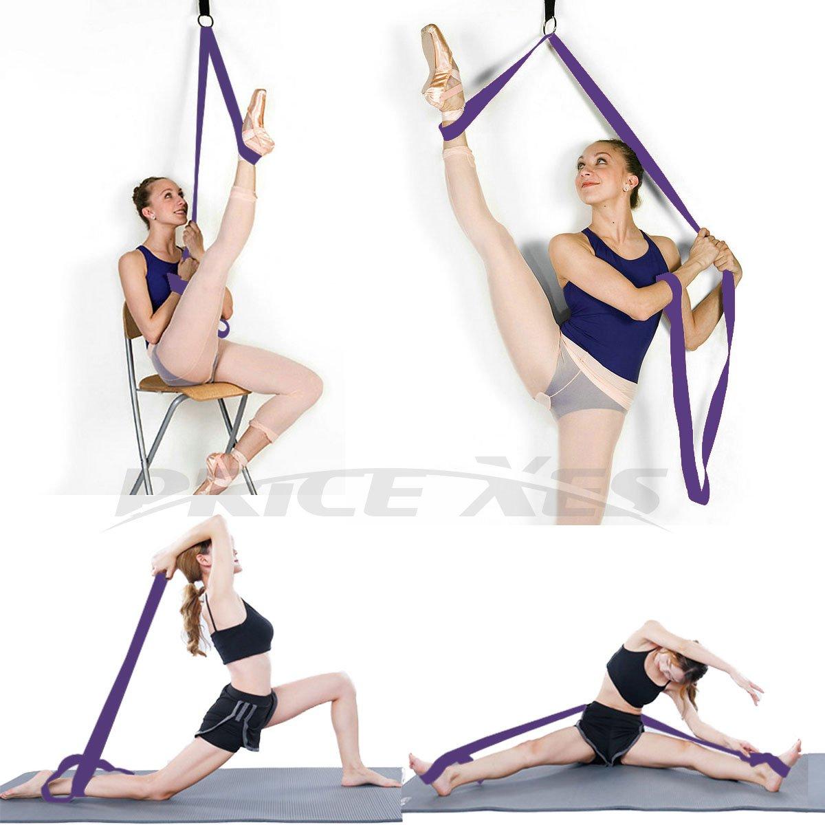 Cinta elástica para la pierna ajustable, para ballet largo, fácil de instalar en la puerta, correa de pierna elástica flexible ideal para ballet, baile, gimnasia, entrenamiento, equipo de estiramiento, taekwondo, morado Price Xes
