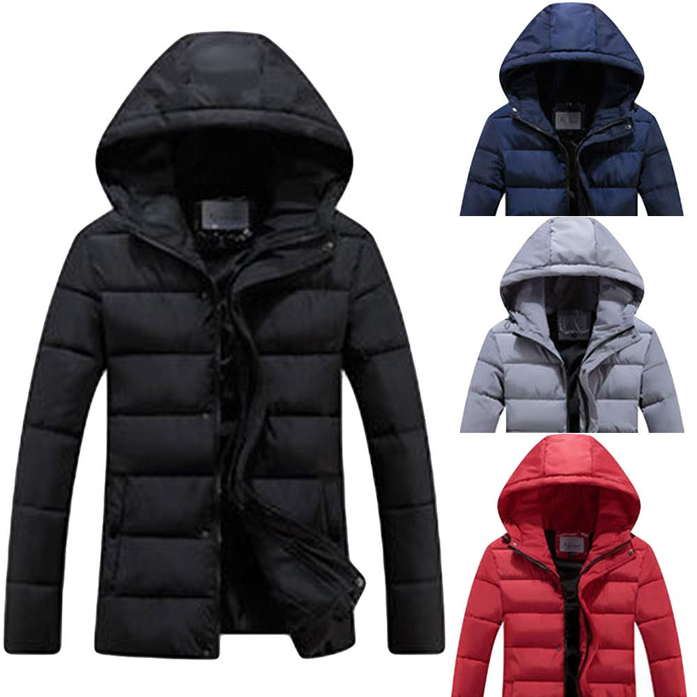 ErYao Men Fashion Winter Hoodie Pure Color Zipper Thickened Cotton Outwear Jacket Coat