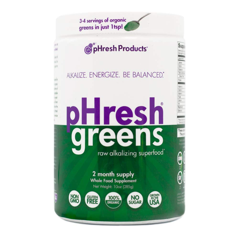 pHresh greens Organic Raw Alkalizing Superfood Greens Powder – 2 Month Supply Gluten-Free Natural Enzymes Raw Nutrients Great for Intermittent Fasting 10oz