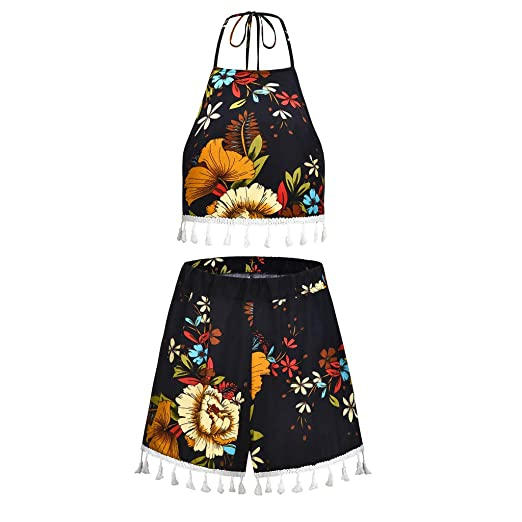 b87cb1119580 Tanlo Women's 2 Pcs Sexy Floral Print Boho Crop Sleeveless Tops+Shorts Set  Two Piece