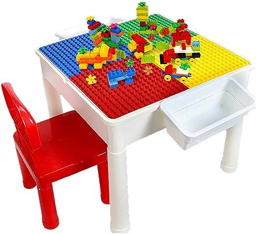 WJMLS Juego de mesas de Actividades para niños - 3 en 1 Mesa de Agua, Mesa Artesanal y Mesa de Ladrillos con Almacenamiento - Incluye 2 sillas: Amazon.es: Hogar