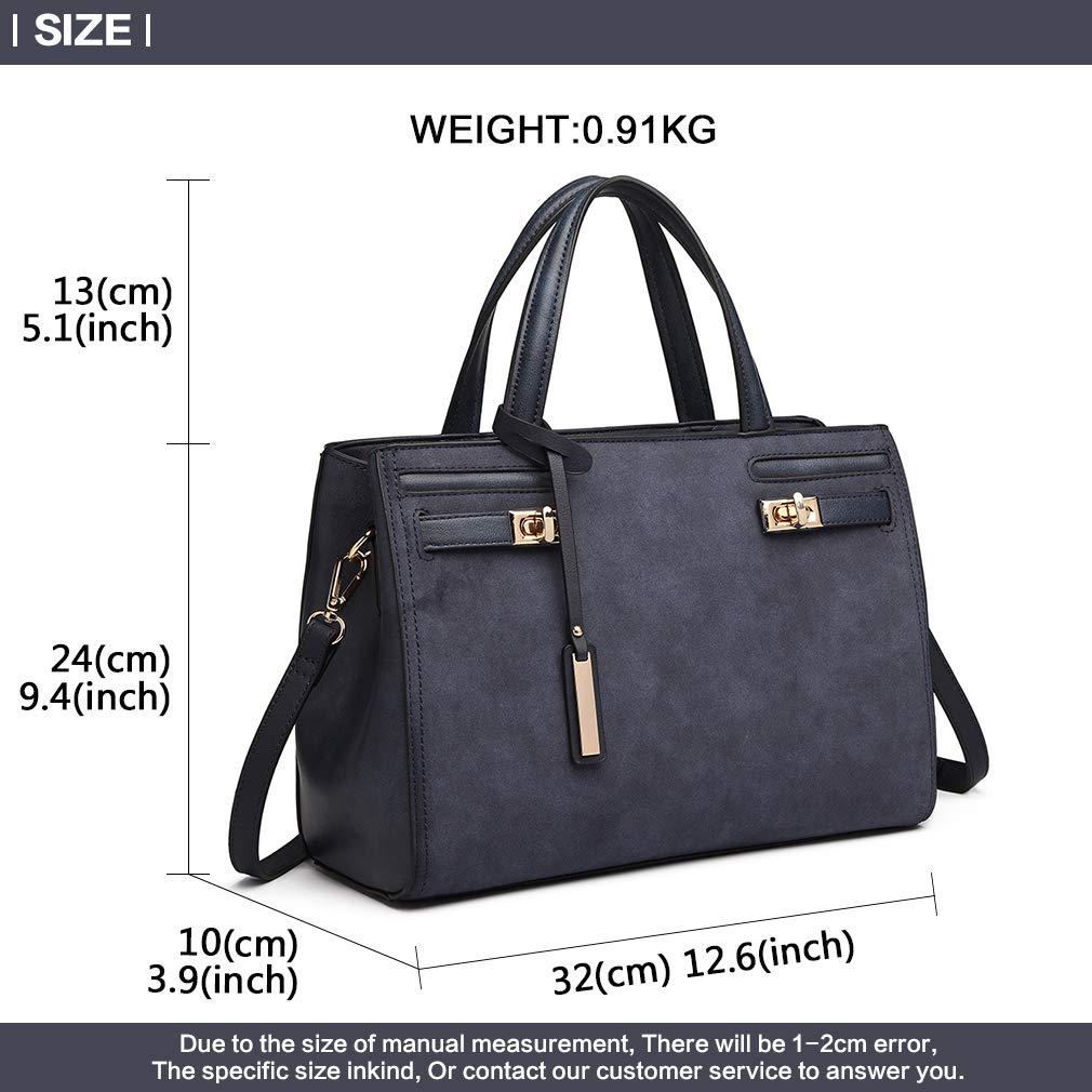0ec5e9b50f Miss Lulu Women Elegant Top Handle Bag Fashion Charm Shoulder Bag Pu Leather  Twist lock Design Feature Quilted Handbag Crossbody Bag (Blue)   Amazon.co.uk  ...