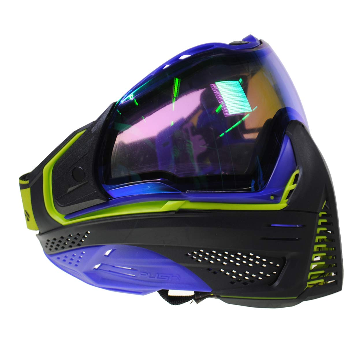 Push Unite Paintball Goggles MASK with Quad PANE Lens and CASE (Purple and Green Purple Lens) by Push Paintball
