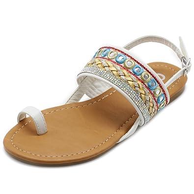 3ec0cd22b Ollio Women s Shoes Ethnic Toe Ring Sling Back Boho Flat Sandals DOLLY01 (6  B(