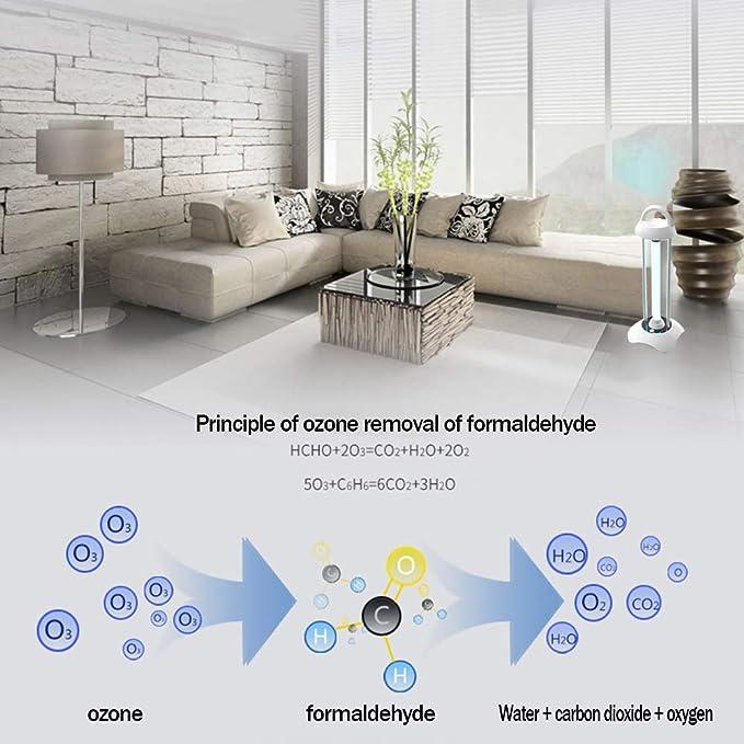 RXBD Lámpara de desinfección UV portátil Luz de esterilización de ozono Lámpara 99% germicidial Ultravioleta Eliminar el formaldehído los ácaros Control ...