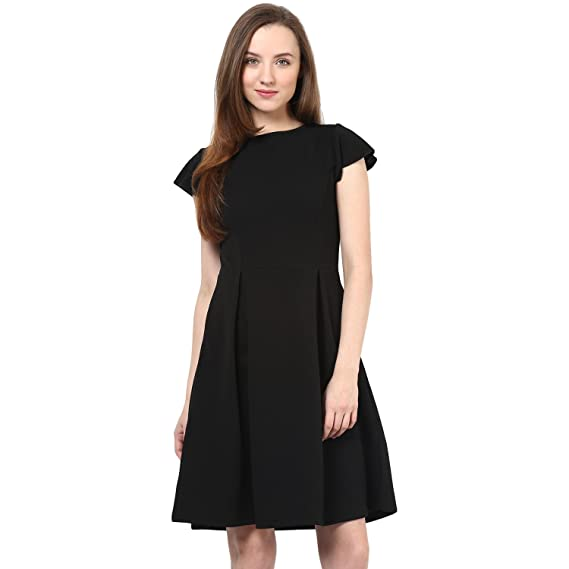 0db1c8f13ff Rare Black Fit   Flare Dress (EP1053A)  Amazon.in  Clothing ...