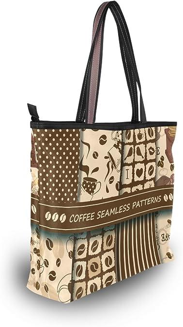 WIHVE Vintage Coffee Letter Bean Womens Tote Bag Top Handle Satchel Handbags Shoulder Bags