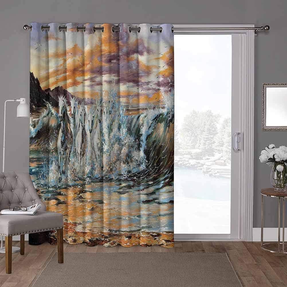 YUAZHOQI - Cortinas divisorias de sala, caballos, caballos surrealistas retro, 100 x 200 cm, protección de privacidad para sala de estar (1 panel)