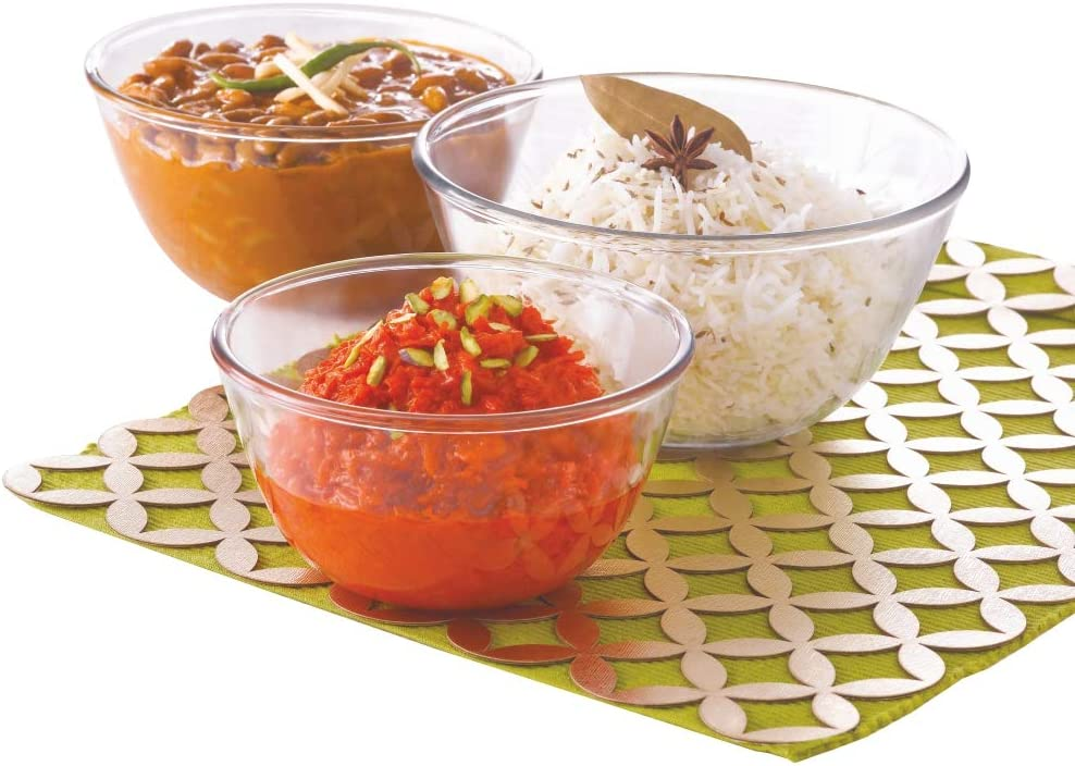 Borosil - Glass Mixing Bowl - Set of 3 (500 ML + 900 ML + 1.3L) Oven and Microwave Safe