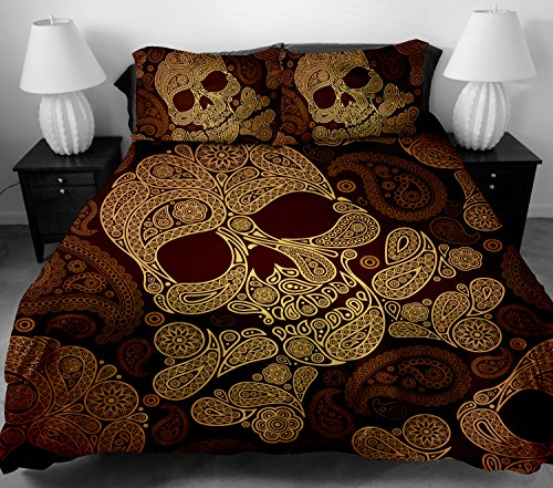 ANOLE 3 Pcs Soft Luxury Youth 100% Polyester Shell Fully Reversible 3-Piece Modern Flower Skull Duvet Cover Set Twin Size Full Size Queen Size King Size Brown No Comforter (Queen) ()