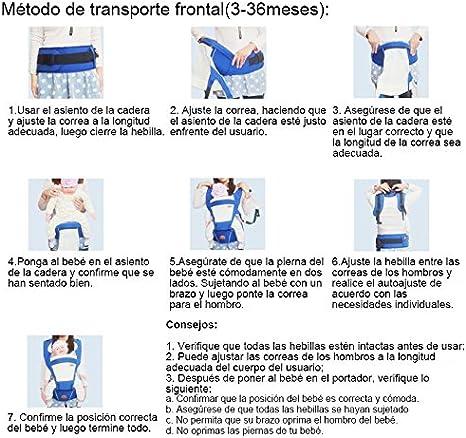 ThreeH Mochila portabeb/és nacidos transpirable con asiento y bolsillos para la cadera BC09,Blue