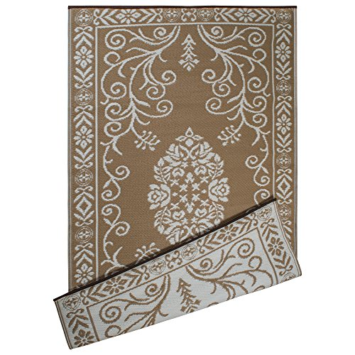 DII Contemporary Indoor/Outdoor Lightweight Reversible Fade Resistant Area Rug, Great For Patio, Deck, Backyard, Picnic, Beach, Camping, & BBQ, 4 x 6', Taupe Garden Floral by DII