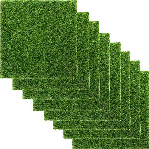 Shapenty Lifelike Artificial Fairy Garden Grass Lawn DIY Miniature Ornament Dollhouse Landscaping Scenery Fake Turf Mat Rug for Christmas Birthday Centerpiece Party Table Decor, 8PCS (6 X 6 Inch) (Place Mats Grass)