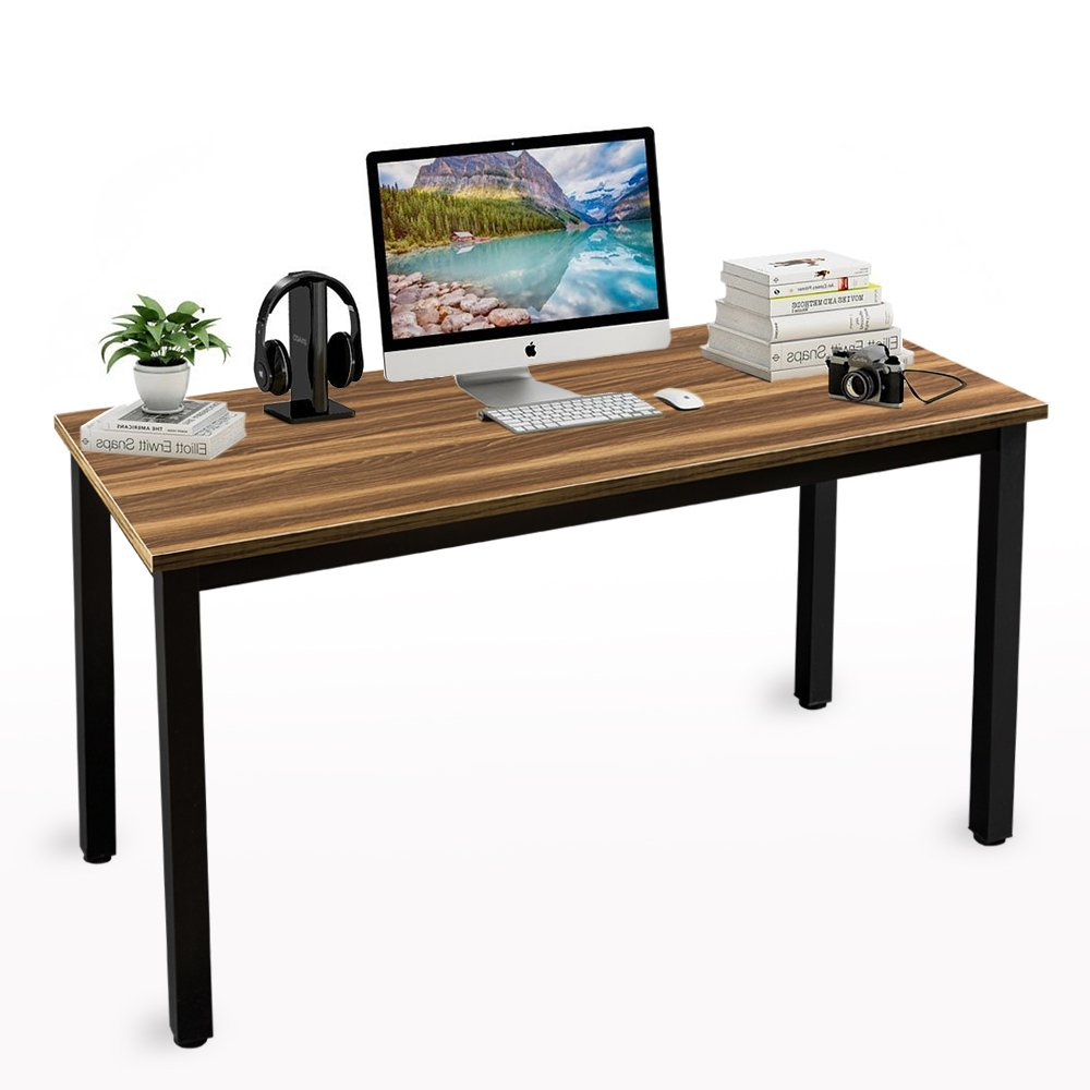 ONXO Computer Desk 55'' Large Size Workstation Office Desk Walnut Table Sturdy Writing Desk with Black Metal Frame for Home Office