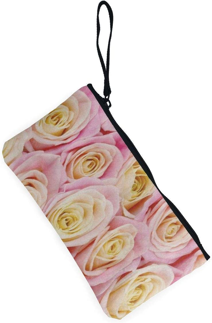 Portefeuille Unisexe Canvas Coin Purse Bunch of Pink Yellow Rose Flower Customs Zipper Pouch Wallet for Cash Bank Car Passport