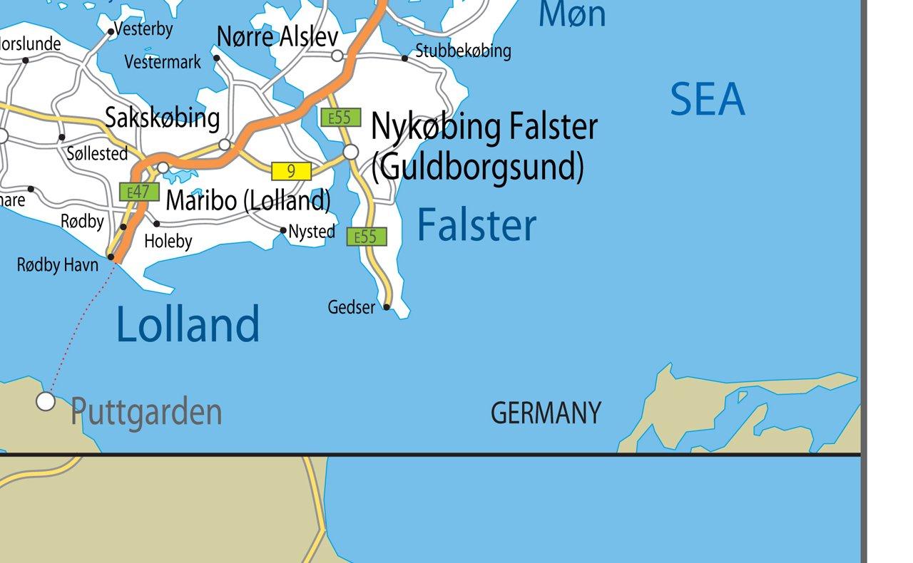 GA /Papier laminiert a2 D/änemark Road Mauer Karte/