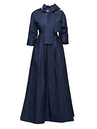41d878f8d65 VERWIN Tie Neck High Waist Lantern Sleeve Women s Maxi Dress Party Evening  Cocktail Long Sleeve Elegant