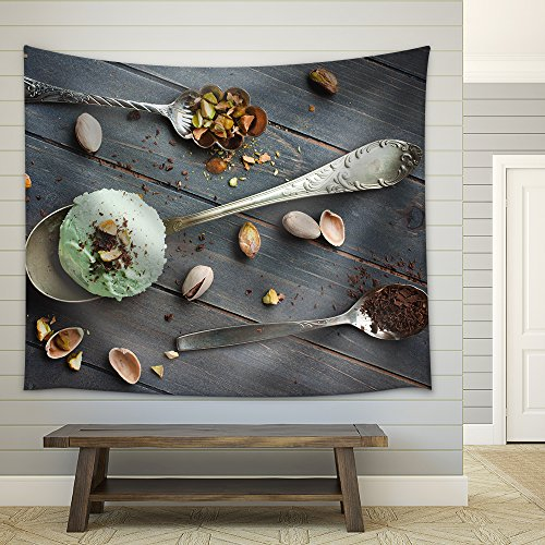 Scoop of Homemade Pistachio Ice Cream Fabric Wall Tapestry