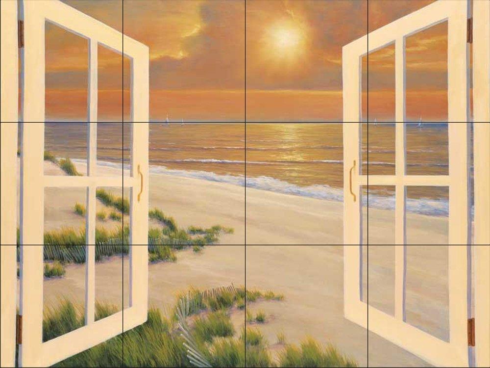 Ceramic Tile Mural - Window Of Dreams - by Diane Romanello - Kitchen backsplash / Bathroom shower