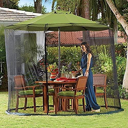 9フィートガーデンパラソルサンパラソルテーブルモスキートネットカバースクリーンネッティングカバー、モスキートネット、屋外ガーデンパラソルテーブルスクリーン、屋外キャンプディナー用
