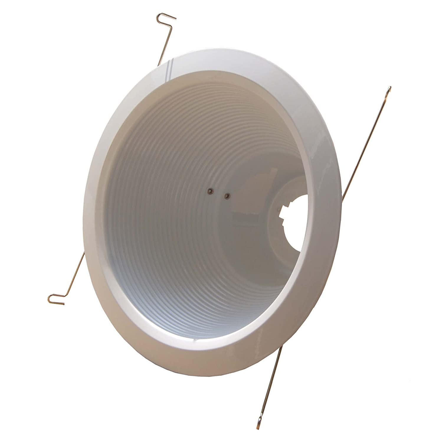 6-Pack--6 Deep Self Flange Air-Shut Baffle Trim For Line Voltage Recessed Light-White Joint Bright Lighting JBL6-243-WH-WH