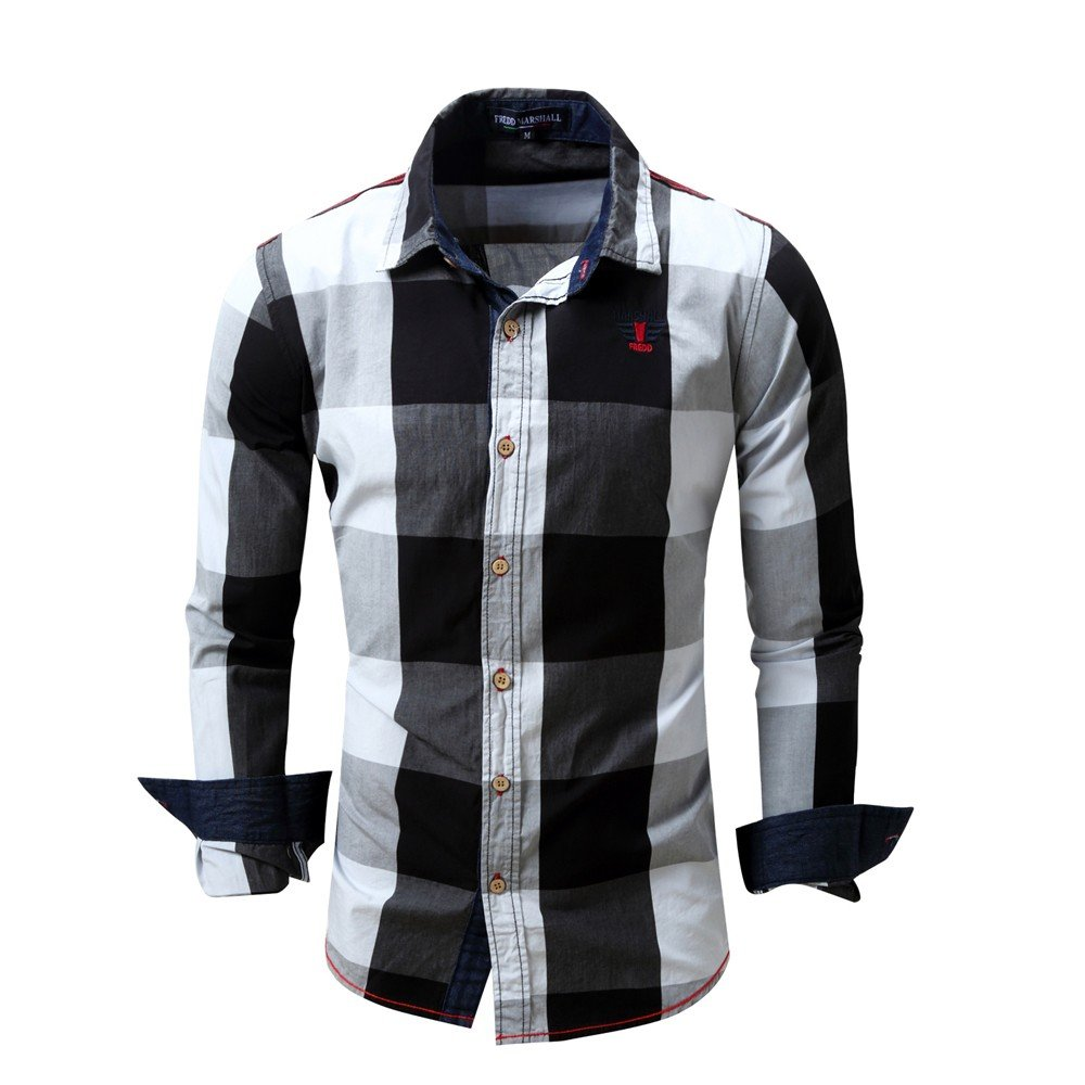 Overmal Men's Checked Shirt Long Sleeve Non-Iron Casual Blouse Cotton Slim Fit Plaid Top by OVERMAL Dress Shirts (Image #2)