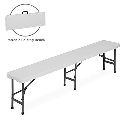 Amazon.com: Banco plegable de plástico de 6 pies para ...