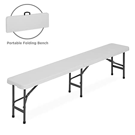 Best Choice Products 6 foot Portable Folding Bench, Sturdy Lightweight Plastic Multipurpose Bench Seat for Indoor Outdoor Use – White