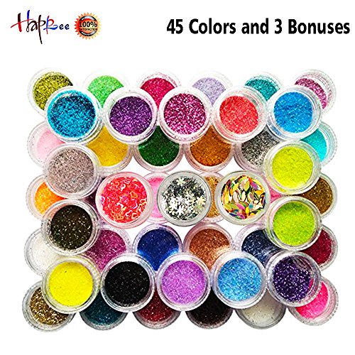 Happlee Slime Supplies kit Glitter Powder for Nail Eyeshadow Face DIY Slime Making and Art Projects (48 Cols) by Happlee®
