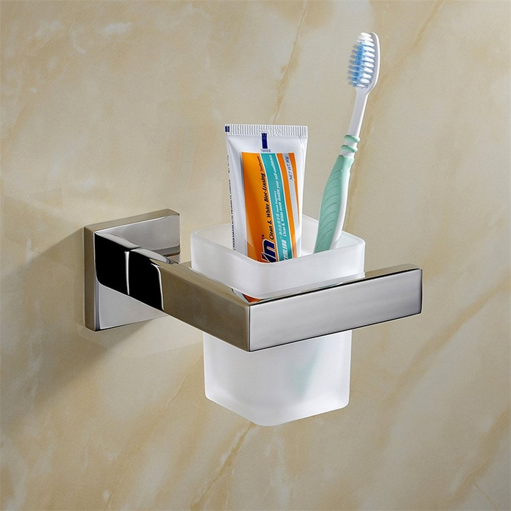 Weare Home Wall Mount SUS304 Stainless Steel Glass Bathroom Single Glass Tumbler with Frosted Brush Holder