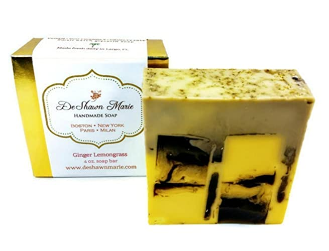 Ginger Lemongrass Soap, 4oz Handmade Soap Bar, 100% Vegan, Cruelty Free,