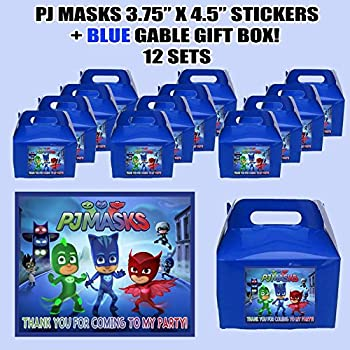 PJ Masks Kids Party Favor Boxes with Thank you Decals Stickers Loots Navy Blue Birthday Shower 12 PIECES GREAT SELLER