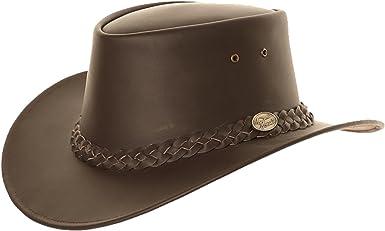 Mens Ladies Light Brown Australian Aussie Leather Bush Cowboy Hat Medium 58cm