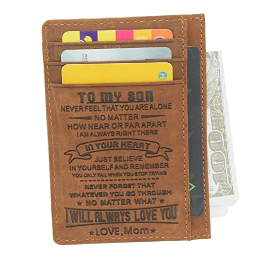 Engraved Slim Wallet Cards Case Custom Personalized Gifts to My Son Dad Husband Daughter Family Insert wallet card-1