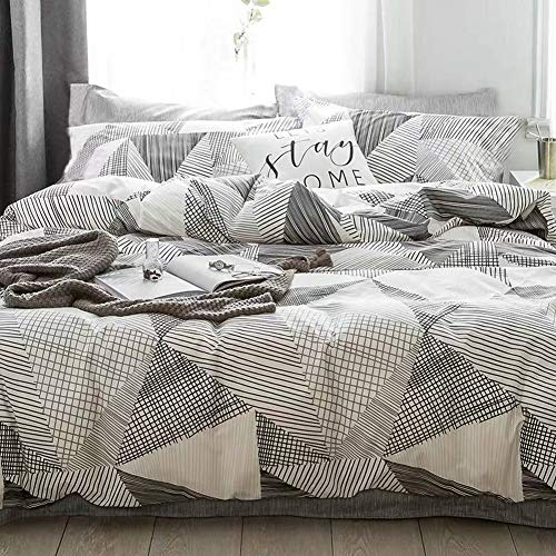 AiMay Duvet Cover Set 100% Natural Cotton 3 Piece Bedding Sets Simplicity Striping Pattern Design Zipper Closure Ultra Soft Comfy Breathable Fade Resistant Hypoallergenic(Queen, GY) (Patterned Duvet Grey Covers)
