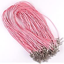 6 Colors DIY Leather Chains Pendant Necklace Rope / Charms Findings Lobster Clasp String Cord 1.5 mm 10 Pcs/lot (Pink)