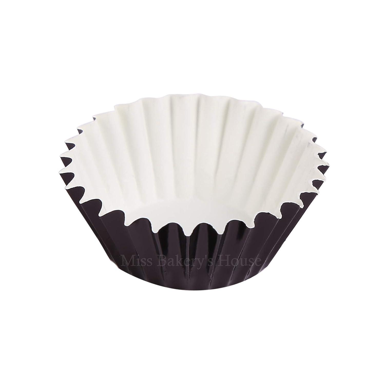 ULTNICE Moldes para Cupcakes Muffins Capsulas Magdalenas de Aluminio 100 Unids Negro