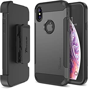 Trianium Holster Case [Duranium Series] Designed for iPhone Xs Max w/Rotating Belt Clip + Kickstand [Heavy Duty Protection] Scratch Resistant/Shock Absorption for iPhone Xs Max 2018- Gunmetal